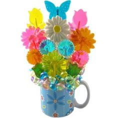 Blue Ceramic Mug - Floral Lollipops Bouquet - Spring Gift Ideas, Mother's Day Gifts