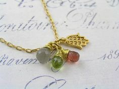 Hamsa Hand Necklace with Gray Moonstone, Garnet and Peridot, Hamsa Necklace, Protection Necklace, Charm Necklace, Charm Jewelry by WedunitJewels on Etsy