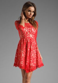 FREE PEOPLE Floral Mesh Lace Dress in Hot Red at Revolve Clothing $128