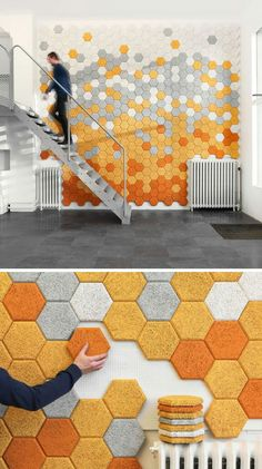 These hexagon sound absorbing panels are made of wood slivers, cement, and water. Träullit Hexagon Panels by Form Us With Love -- seen on: 19 Ideas For Using Hexagons In Interior Design And Architecture //