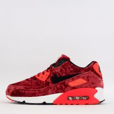 Nike Air Max 90 Anniversary Quilted Suede Men's Casual Trainers Shoes Red/Black #Nike #Trainers