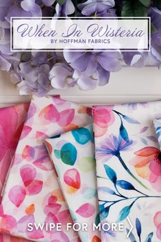 When in Wisteria is a beautiful watercolor floral collection by Hoffman Fabrics! 100% cotton. This fabric is digitally printed, giving it brighter, more vibrant colors and beautiful detail not available in traditional, screenprinted fabrics. Shabby Fabrics, Wisteria, Floral Watercolor, Screen Printing, Vibrant Colors, Quilting, Traditional, Detail, Printed
