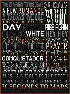 Song lyrics from Conquistador - 30 Seconds To Mars
