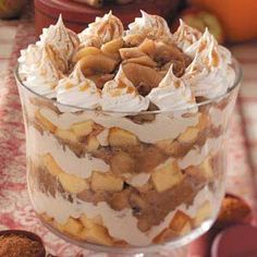 Caramel Apple Trifle Recipe - Trifles are terrific desserts because they're made in advance and feed a crowd. This is a great dessert for fall!