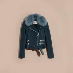Shearling Biker Jacket with Fur Collar Light Steel Blue | Burberry