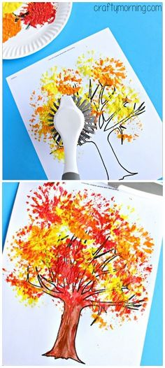 "Fall Tree Craft Using a Dish Brush <a class=""pintag"" href=""/explore/Fall/"" title=""#Fall explore Pinterest"">#Fall</a> craft for kids - Perfect for toddlers and preschoolers! 