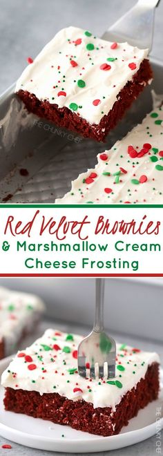 Red Velvet Brownies with Marshmallow Cream Cheese Frosting | Flavorful and festive red velvet brownies slathered in an ultra creamy frosting. Perfect for all holiday festivities, and easy to customize to other holidays as well!