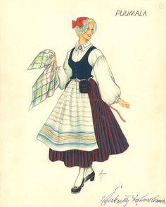 Puumalan puvun kuvitusta Folk Costume, Costumes, Decoupage Paper, Folklore, Paper Dolls, Finland, Art Reference, Disney Characters, Fictional Characters