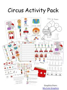 Circus Activity Pack - Circus Activity Pack includes:     circus flashcards  tic tac toe  dominoes  size sorting  handwriting practice  pre writing practice  cutting practice  word search   colour by number  dot to dot  colour patterns  1 pack of circus cards (includes 'jokers')  what comes next  finish the patterns  lacing cards  dot marker pages  number puzzles  3 part cards  adding  subtracting  multiplying  telling the time  reading comprehension  and more