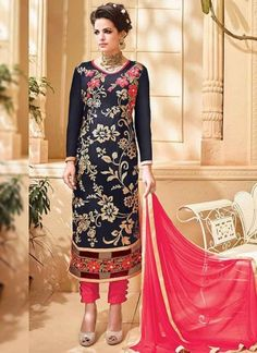Black Pink Embroidery Work Georgette Pakistani Suit http://www.angelnx.com/Salwar-Kameez/Pakistani-Suitshttp://www.angelnx.com/Salwar-Kameez/Pakistani-Suits