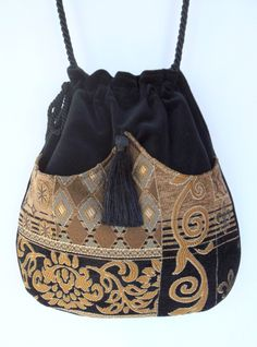 Classy Chenille Boho Bag Drawstring Bag Black Velvet Bag Bohemian Bag Crossbody Purse. $40.00, via Etsy.