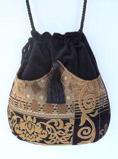 Classy Chenille Boho Bag Drawstring Bag Black Velvet Bag Bohemian Bag Crossbody Purse. $40.00, via Etsy.