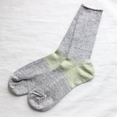 Color Heel Linen Rib Sox #moss green×middle gray