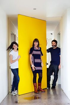 rotating door - Sarah Cottier, Ashley Barber, and Ruby Barber at home in Sydney