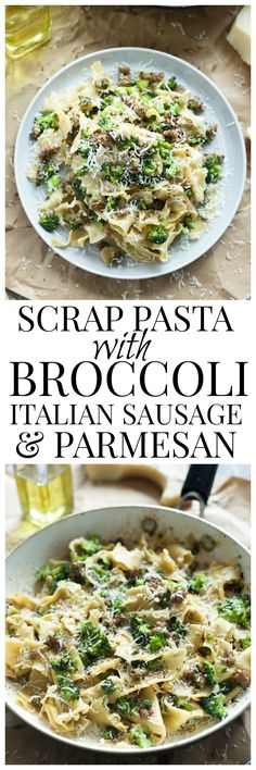 Scrap Pasta with Broccoli, Italian Sausage and Parmesan - Plus, a secret ingredient that makes restaurant-quality pasta every time! (Baking Pasta With Sausage) Sausage Recipes, Pork Recipes, Casserole Recipes, Pasta Recipes, Dinner Recipes, Cooking Recipes, Healthy Recipes, Dinner Ideas, Sausage Meals