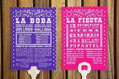 Cinco de Mayo Mexican fiesta wedding papel picado program fans designed by The Goodness