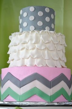 Pretty cake from a Pink, mint, gray, chevron Baby Shower!  See more party ideas at CatchMyParty.com!