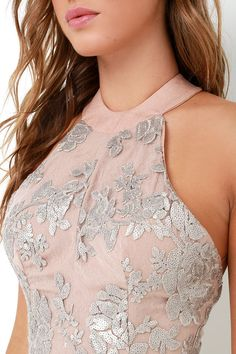 Dress the Population Valentina Silver Sequin Maxi Dressat Lulus.com!