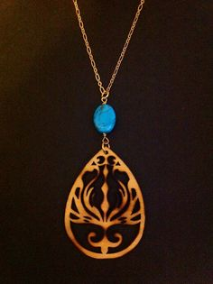 Lotus Flower Necklace  Genuine Turquoise  by RedGypsyJewelry