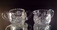 American Brilliant Cut Glass Matching Creamer And Sugar Set by VioletAndValley on Etsy https://www.etsy.com/listing/194156402/american-brilliant-cut-glass-matching