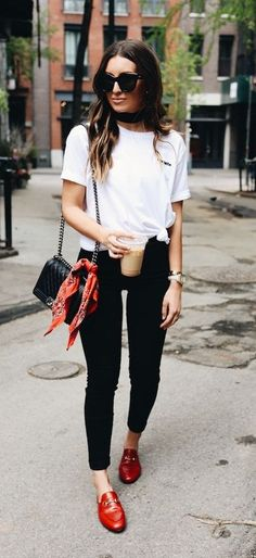black and white with red details. loafers. street style.