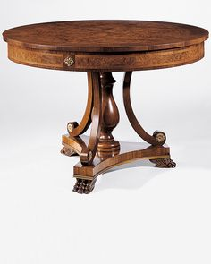 center table - Biedermeier style round wood center table with olive and ash burl veneer, walnut trim, antique brass accents and carved claw feet