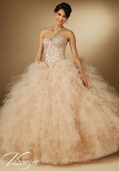 89049 Quinceanera Gowns 3pc. Beaded Lace Appliques on Corset Top with Ruffled Tulle Skirt and Straight Skirt with Beaded Lace Appliques