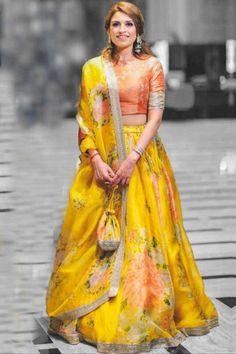 Buy Yellow Silk Lehenga With Silk Choli - Lehenga Choli for Women from Andaaz Fashion at Best Prices. Lehenga Choli, Lehenga Skirt, Lehnga Dress, Anarkali, Floral Lehenga, Saree Blouse, Wedding Lehenga Designs, Designer Bridal Lehenga, Pakistani Dresses Casual