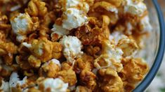 I think this is a great caramel popcorn recipe, and I have tried quite a few! They were either too sticky or too sweet. The caramel dries well and doesnt stick to your fingers, and the sweetness is just right. I use spanish peanuts in Caramel Corn Recipes, Popcorn Recipes, Microwave Recipes, Best Dessert Recipes, Candy Recipes, Fun Desserts, Cooking Recipes, Dessert Food, Desert Recipes