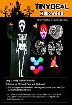 【Only 2 Steps to Win Free Gifts】 1.Follow us:@tinydealfashion  and this board: http://www.pinterest.com/tinydealfashion/tinydeal-contest/. 2.Repin this pin with a description: #Halloween Join us here http://www.pinterest.com/pin/395261304770283168/ and Leave a comment with the link of your pin below . We'll select the winner by random draw on 17th October. The 1st prize will be 7 free gifts for Halloween as shown, the 2nd prize being 50 TD points, and 30 TD points as the 3rd.