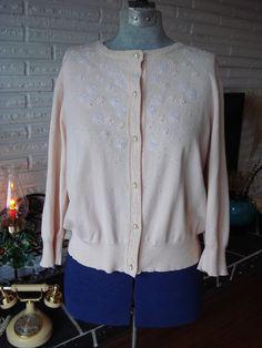 1950s Beaded Peach Lambswool Cardigan Sweater // Floral Beadwork ...