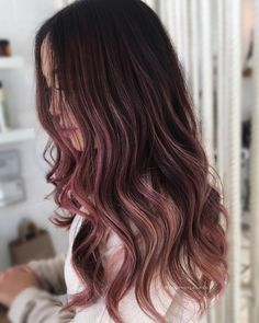 Rose gold brunette. Chocolatey rose cut and color by @beautybylaurad