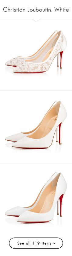 """""""Christian Louboutin, White"""" by maryarn ❤ liked on Polyvore featuring shoes, pumps, christian louboutin, heels, version latte, high heel wedding shoes, lace wedding shoes, wedding shoes pumps, print pumps and evening shoes #weddingshoes"""