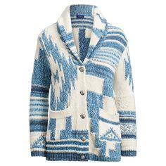 A Southwestern-inspired pattern in the season's blue-and-white hues enhances the rustic vibe of this soft cotton cardigan.