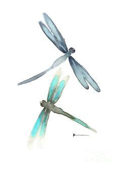 Dragonflies image painting watercolor art print Canvas Print / Canvas Art by Joanna Szmerdt Easy Watercolor, Watercolor Cards, Watercolor Paintings, Watercolors, Dragonfly Painting, Dragonfly Art, Watercolor Dragonfly Tattoo, Baby Dragonfly, Dragonfly Illustration