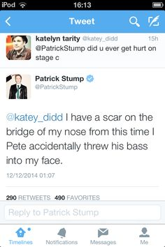 i just choked and then began to wonder how in the hell pete 'accidently' threw his bass in Patrick's face