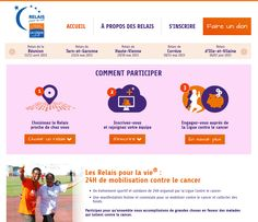 Conception et réalisation du site des Relais pour la Vie de la Ligue contre le cancer. #webdesign #responsive #livecovering #liguecontrelecancer Identity, 30 Mai, Web Design, Relay For Life, Make A Donation, Design Web, Personal Identity, Site Design, Website Designs