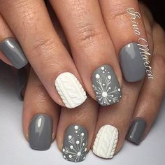 Textured Snowflake Manicure - 20 Snowflake Nail Ideas Perfect for a Winter Wonderland - Photos