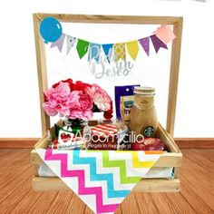 Regalos día de la mujer Cali Desayuno pide un deseo Birthday Box, Friend Birthday, Happy Birthday, Cute Breakfast Ideas, Personalised Gifts Diy, Honey Shop, Surprise Box, Happy Eid, Wood Gifts