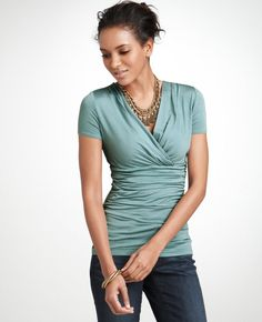 I love crisscross necklines and the ruching is so slimming! $44