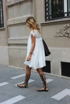 Gladiator Sandals paired with Boho white