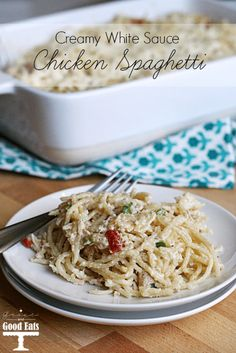 I love chicken spaghetti- but I don't love the cream of mushroom soup that most recipes call for. This recipe is creamy and delicious without it!
