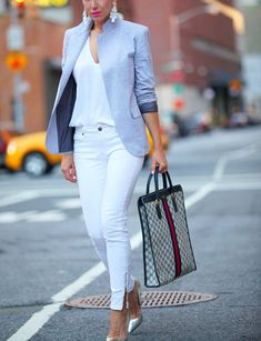 White & Grey Glam office wear corporate look blazer ladies skinny pants in white