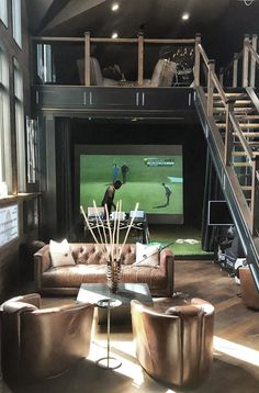 The Best Golf Simulator for your home or business. A complete Indoor Golf Simulator Solution with Putting and Impact Location, works indoor and outdoor. Home Golf Simulator, Indoor Golf Simulator, Home Gym Basement, Home Gym Garage, Office Golf, Clubhouse Design, Golf Room, Golf Simulators, Modern Mountain Home