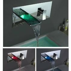 $229.95 | Futuristic Bathroom. LightInTheBox Single Handle Wall Mount Waterfall Bathroom Sink Faucet with Build-in LED Lights, Future Home, Futuristic Faucet, Modern Interior, Futuristic Bathroom | FuturisticSHOP.com