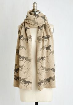 Train of Trot Scarf. After laying eyes on this taupe scarf, you'll find it impossible to forget its adorable equine print. #tan #modcloth