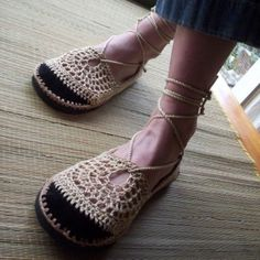 Hand crocheted shoes