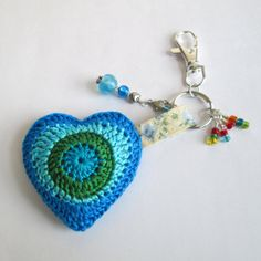 "Say ""Be Mine"" with a Crochet Heart Keychain in Shades of Blue with by NirvanaDesigns."