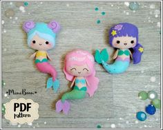 Best 12 Easy tutorial on how to make the 3 cute felt Mermaids ornaments. Completely hand sewn, no need a sewing machine. Size of finish ornaments – about inches cm) tall – about inches cm) tall. – about inches cm) tall Buying thi Felt Doll Patterns, Pdf Sewing Patterns, Free Sewing, Felt Ornaments, How To Make Ornaments, Felt Diy, Felt Crafts, Resin Crafts, Baby Pattern