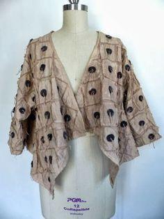 Marcy Tilton's Blog For Everyday Creatives. Nancy's Wabi Sabi Cardi-jacket: Vogue 8675. Woven muslin, black felt, appliqued, stitched and overdyed.